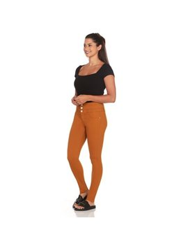 Elite Jeans High Rise 3 Button Stack Waist Active Stretch Skinny Jeans Women | (Mustard, Small) by Elite Jeans