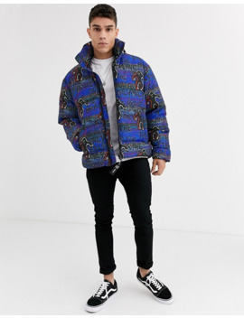 Diesel Wpiatig Monster All Over Print Puffer Jacket In Purple by Diesel