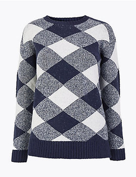 Checked Relaxed Fit Jumper by 35 Dagen Retourneren