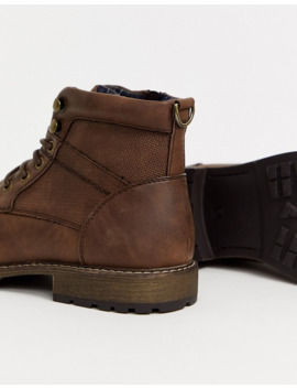 New Look Faux Leather Military Boots In Brown by New Look