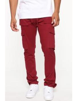 Worker Cargo Pants   Burgundy by Fashion Nova