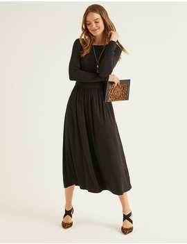 Lucille Jersey Midi Dress   Black by Boden