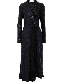 Galaxy Twist Front Sequined Silk Chiffon Midi Dress by Galvan London