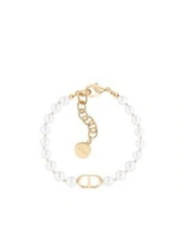 White Resin Bead 30 Montaigne Gold Finish Bracelet by Dior