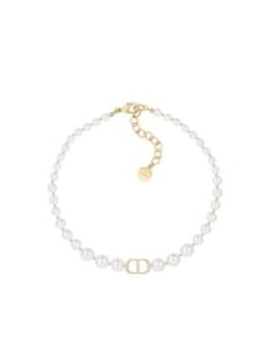 White Resin Bead 30 Montaigne Gold Finish Metal Choker by Dior