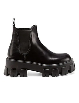 Lug Sole Leather Chelsea Boots by Prada