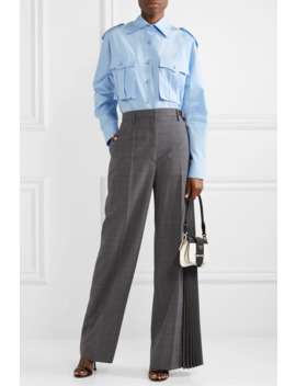 Pleated Checked Wool Blend Wide Leg Pants by Prada