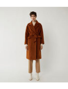 Textured Belted Wrap Coat by Warehouse