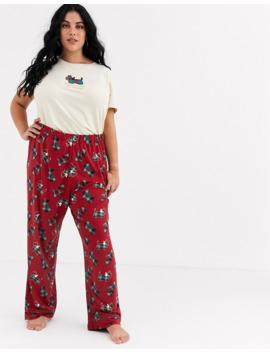 Chelsea Peers Plus Size Check Printed Scotty Dog Long Pyjama Set by Chelsea Peers