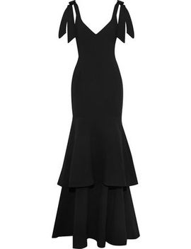 Domingo Tiered Bow Detailed Crepe Gown by Rebecca Vallance