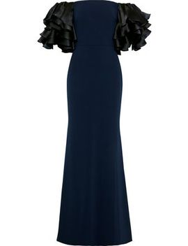 Off The Shoulder Ruffled Satin Paneled Cady Gown by Badgley Mischka