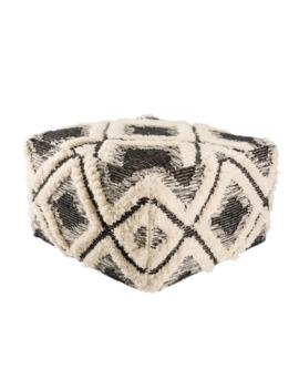 Nikki Chu Aaltos Black/ Ivory Geometric Square Pouf by Nikki Chu