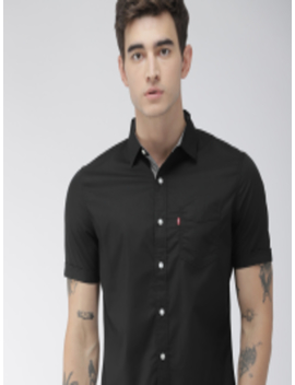 Men Black Slim Fit Solid Casual Shirt by Levis