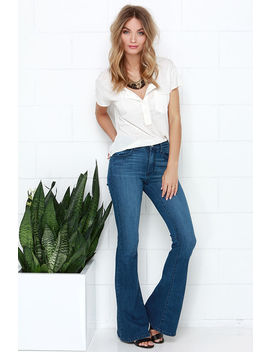 Friends Flare Ever Medium Wash High Waisted Flare Jeans by Lulu's