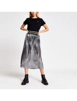 Silver Metallic Pleated Midi Skirt by River Island