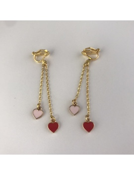 Gold Tone Red And Pink Heart Dangle Clip On by Depop