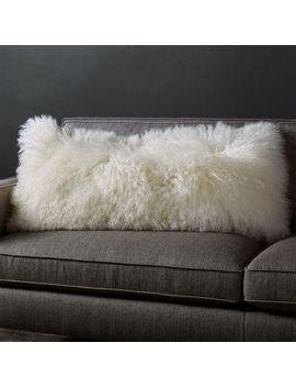 """Pelliccia Ivory Mongolian Sheepskin Lumbar Pillow 36""""X16"""" by Crate&Barrel"""