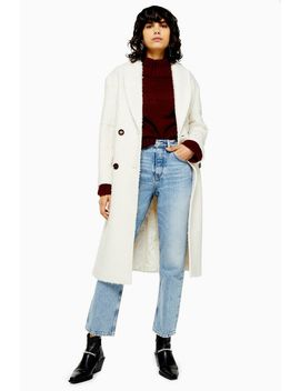 Ivory Boucle Double Breasted Coat by Topshop