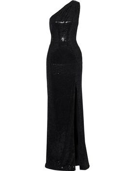 Zane One Shoulder Sequined Velvet Gown by Haney