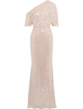 Fluted Off The Shoulder Sequined Mesh Gown by Badgley Mischka