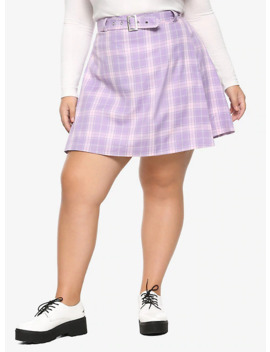 Pastel Purple Pleated &Amp; Belted Skirt Plus Size by Hot Topic