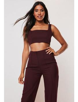 Plum Co Ord Super Scoop Crop Top by Missguided