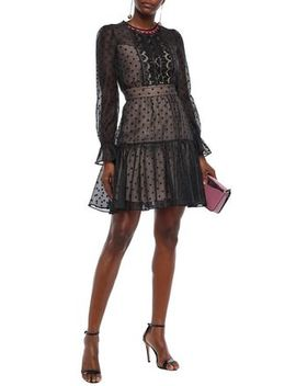 Prix Lace Paneled Flocked Cotton Blend Organza Mini Dress by Temperley London