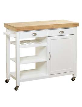 Simple Living Martha Rubberwood Kitchen Cart   White by Simple Living