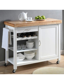 Denver White Modern Kitchen Cart by Baxton Studio
