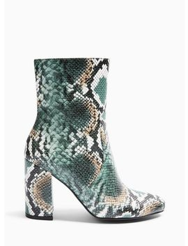 Bamboo Green Snake High Shaft Ankle Boots by Miss Selfridge