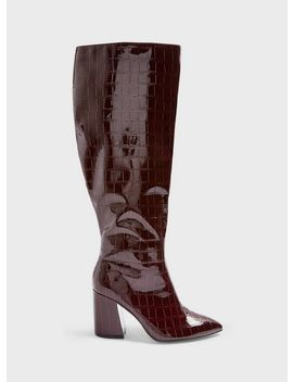 Olympia Burgundy Crocodile Design Shaft Knee High Boots by Miss Selfridge