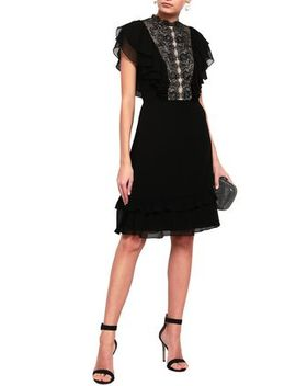 Lace Paneled Ruffled Crepe De Chine Dress by Mikael Aghal
