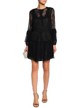 Liana Ruffle Trimmed Corded Lace Mini Dress by Sachin & Babi