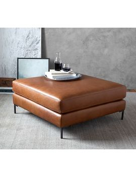 Jake Leather Sectional Ottoman by Pottery Barn