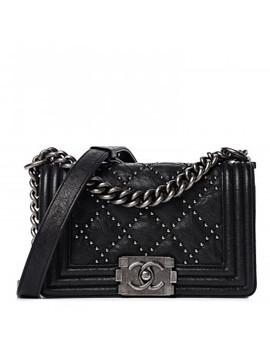 Chanel Crumpled Lambskin Small Studded Boy Flap Black by Chanel