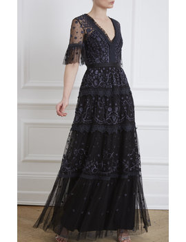 Midsummer Lace Trimmed Embroidered Point D'esprit Tulle Gown by Needle & Thread