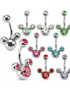 Triple Gem Surgical Steel Belly Bars Navel Button Bar Body Piercing Jewellery by Ebay Seller