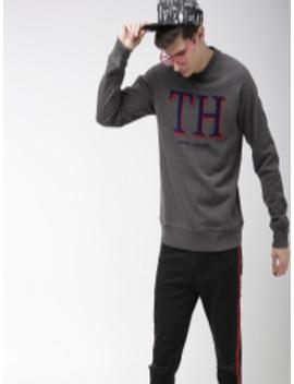 Men Charcoal Grey Self Design Sweatshirt by Tommy Hilfiger