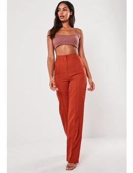 Red Co Ord Seam Detail Straight Leg Trousers by Missguided