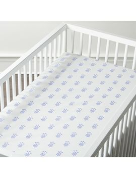 Organic Handblocked Crib Fitted Sheet by Crate&Barrel