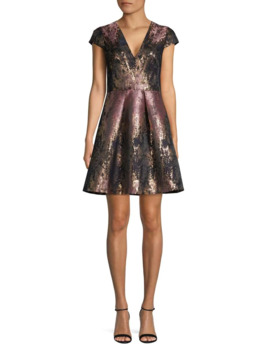 Metallic Fit & Flare Dress by Vince Camuto