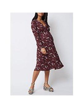 Maternity Burgundy Red Floral Midi Dress by Asda