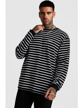 Man Loose Fit Striped Long Sleeve T Shirt by Boohoo