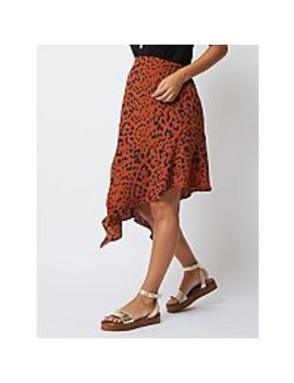 Maternity Leopard Print Asymmetrical Midi Skirt by Asda