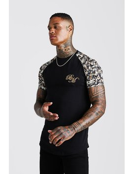 Bm Muscle Fit Embroidered Baroque Print T Shirt by Boohoo