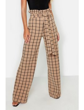 Paperbag Waist Checked Wide Leg Pants by Boohoo