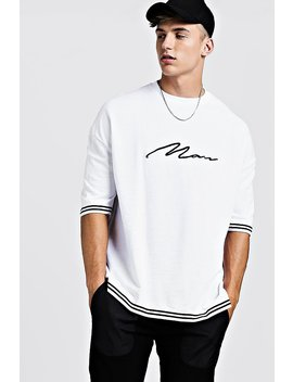 Man Signature Oversized Drop Shoulder Tape T Shirt by Boohoo