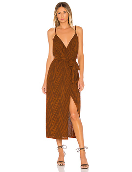 Strappy Wrap Dress In Burnt Orange by Minkpink