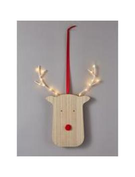 Lit Wooden Rudolph Room Light by Noma