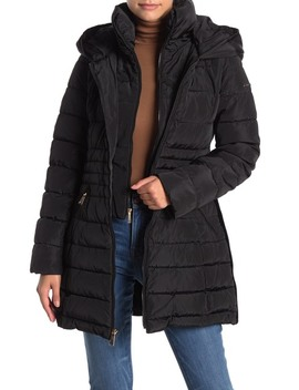 Faux Fur Accented Velvet Trimmed Bibbed Puffer Coat by Laundry By Shelli Segal